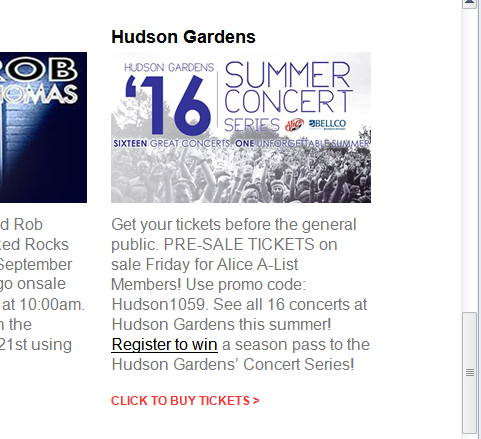 Alice email 4 20 for Hudson gardens concert schedule